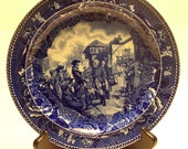 Wedgwood China Plate Historical Blue and White Transfer Ware American History