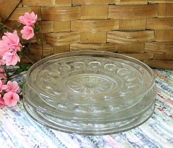 Vintage Farmhouse Cottage Glass Plates Lunch Desert Set of 3