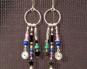 Sterling Silver Crazy Dangle Hoops in Cool Colors