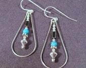 Sterling Silver Chinese Turquoise Teardrop Earrings