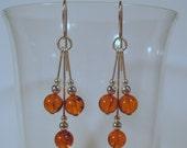 Sterling Silver Amber Multi-Dangle Earrings