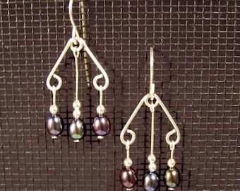 Sterling Silver Multi-Dangle Iridescent Freshwater Pearl Earrings