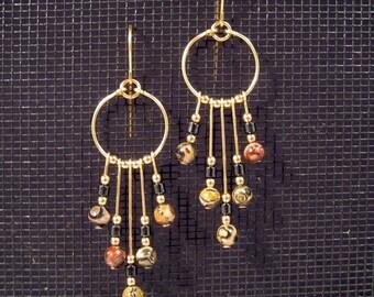 Gold-filled Leopardskin Jasper and Hematite Hoop Fandangle Earrings