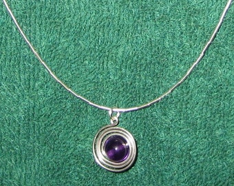 Sterling SIlver Amethyst Swirl Choker Length Necklace