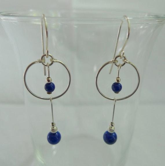 Lapis Lazuli Hoop Drop Earrings