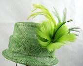 Green Hat Feather Fascinator Kentucky Derby Wedding Hat
