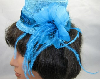 Turquoise Miniature Top Hat Fascinator Kentucky Derby Wedding Hat
