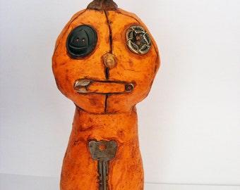 Primitive Pumpkin Fellow Folk Art Doll