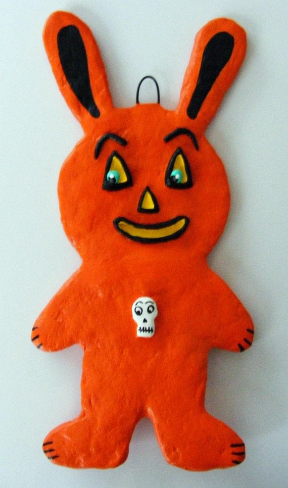 Halloween Easter Bunny Folk Art Paper Mache Ornament