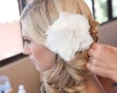 Bridal Peony Flower Ivory Silk Chiffon, Hair Piece, Sash, Brooch, Embellishment