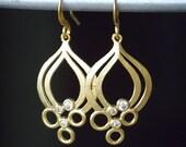 Unique Matte Gold and Cubic Zirconia Dangle Earrings