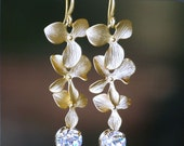 A Trio of Matte Gold Flowers with Swarovski Crystals, Long Dangle Earrings
