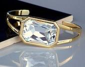 SALE- Brilliant Octagon Swarovski Crystal and Gold Cuff Bracelet