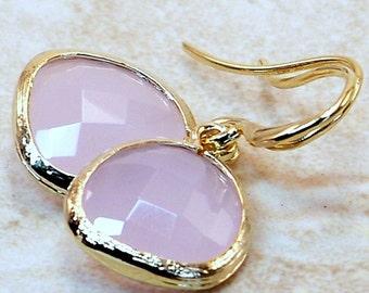 Sale/ Gold Framed Soft Pink Crystal Dangle Earrings