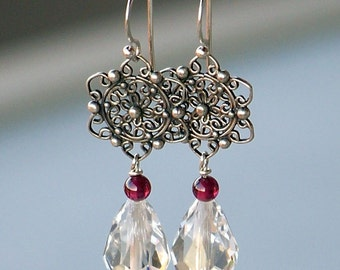 Sterling Silver Snowflakes with Garnet Gemstones and Crystal Teardrops, Silver Dangle Earrings