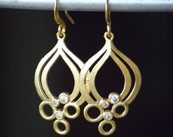 Unique Matte Gold and Cubic Zirconia Dangle Earrings