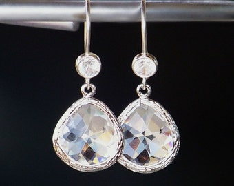 Sterling Silver and CZ Earrings with Faceted Crystal Dangles