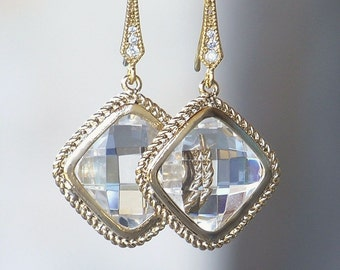 Faceted Crystal and Gold Diamond Shaped Dangles