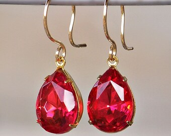 Vintage Ruby Pink Swarovski Crystal Teardrops Set in Gold with Gold-Filled French Earrings
