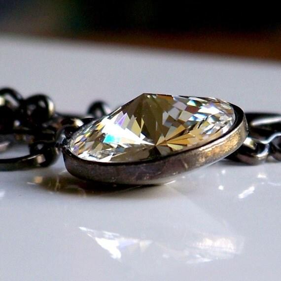 Swarovski Crystal and Gunmetal Link Necklace