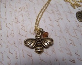Bee with Honeydrop Necklace in antique brass