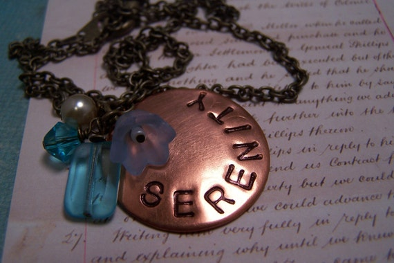 Serenity Necklace in Copper and Blue