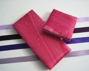 Magic Wallet, Mini Magic Wallet,Hot Pink Shaded Satin Mini Magic Wallet with Metallic Highlights
