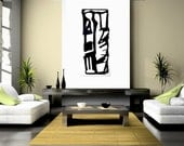 "Mid Century Modern Art Painting, B & W Urban Graphic Art,  Abstract, Tribal, Primitive  - ""Sacred"" Art, Wall Decor for the Home Will Wieber"