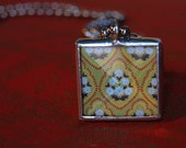 Reversible Beveled Glass Yellow Gold Indian Print Pendant Necklace