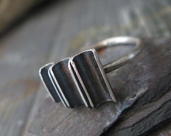 Rustic sterling silver urban half pipe ring. Oxidized & brushed. Unique modern jewelry. Organic graduated channels. Gift for her. Women.