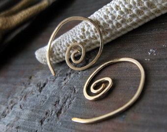 Minimalist small 14k gold filled modern spiral earrings.  Simple lightweight everyday artisan wire work jewelry.  Gift for her. Swish.