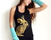 Jackalope tank top - eco friendly gold ink screenprint on black cotton racerback - womens sizes S, M, L