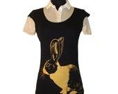 Dutch Rabbit tshirt - eco gold ink screenprint on black cotton scoop neck  - womens sizes S, M, L, XL