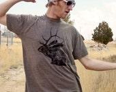 Jelk Jackalope tshirt - eco screenprint on coffee tri-blend American Apparel slim fit - adult unisex mens sizes XS, S, M, L, XL