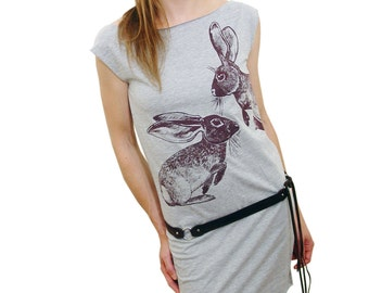 Cottontail Rabbit tshirt dress - eco-friendly brown ink screenprint on heather grey cotton - womens sizes S, M, L
