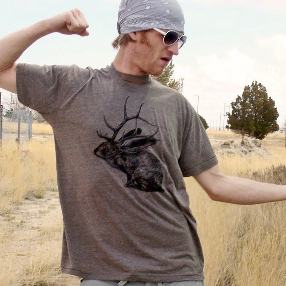 Jelk Jackalope tshirt - eco screenprint on coffee tri-blend American Apparel slim fit - adult unisex mens sizes XS, S, M, L, XL