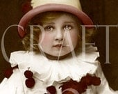 Digital Download 'Pierrot' Scan Antique French Postcard Hand Tinted 300dpi Print 52P