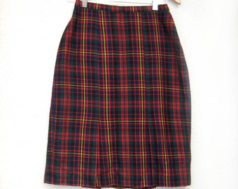 70s Thea Muller Vintage Wool Plaid Skirt, Back to School Plaid Skirt Lined Small 6 8 Thea Muller