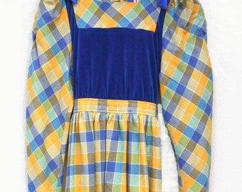 Vintage Yoiju Maxi Dress Bright Plaid S XS, Alice in Wonderland Bright Colors Maxi Dress size 2