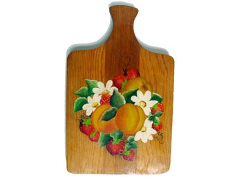80s Vintage Hand Painted Cutting Board Strawberries Peaches Hardwood