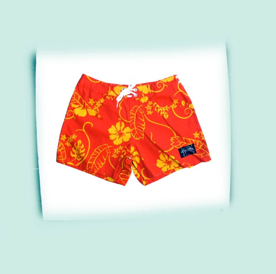 Vintage Beach Surf Sport SHORTS tropical, Hawaiian Shorts that Tear Away 1970s NOS size 11 Junior