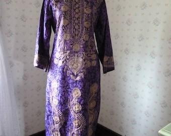 CLEARANCE Vintage Embroidered Purple Boho Ethnic Maxi Dress, Caftan, Small-Medium
