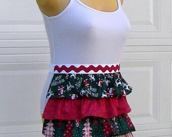 Christmas Apron - Christmas Ruffles Half Apron - Handmade Apron