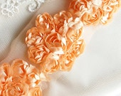 Shabby Chic Satin Floral Rosette Trim in PEACH