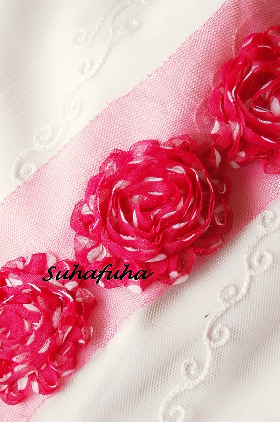 1/2 yd Chiffon Shabby Polka Dotted Rosette Trim in HOT PINK & WHITE- 7 Rosettes