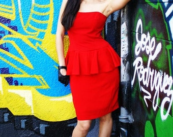 Red Strapless 80's Dress - ON SALE