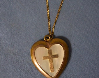 Mother of Pearl Locket With Cross