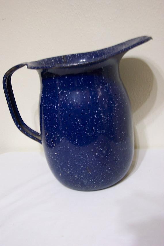 Enamel Pitcher U S Navy Graniteware Blue Speckled