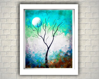 Glowing Dream. Abstract Landscape Art Print. Dreamy tree dreamy background.