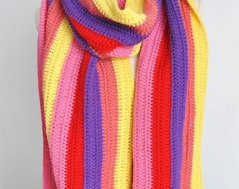 SALE -Warm Rainbow - Crochet Multicolor Stripe Long Chunky Scarf/Shawl/Wrap